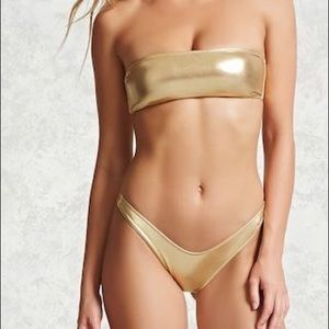 Gold metallic bathing suit top